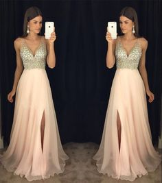 New Arrival Prom Dress,Modest Prom Dress,sparkly crystal beaded v neck open back long chiffon prom dresses 2017 pageant evening gowns with leg slit,36