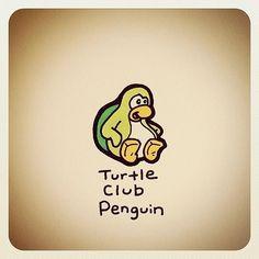 Turtle Club Penguin Drawing by Turtle Wayne