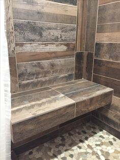 "Kennewick, WA Bathroom Remodel Reclaimed ""wood look"" tile and floating shower bench. Warwick Design, LLC."