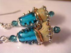 Aqua Blue Lampwork Earrings  Artisan by jenniferlynnstudio on Etsy, $34.00