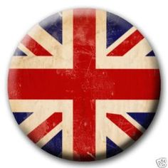Union Jack Distressed British Flag PINBACK BUTTON