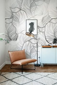 GREY Leaf Wallpaper Exotic leaves Wallpaper Large leaf Wall Mural Home Décor Easy install Wall Decal Removable Wallpaper Home Deco Deco Design, Wall Design, Design Art, Tapete Gold, Of Wallpaper, Leaves Wallpaper, Wallpaper Ideas, Gold Accent Wallpaper, Interior Wallpaper