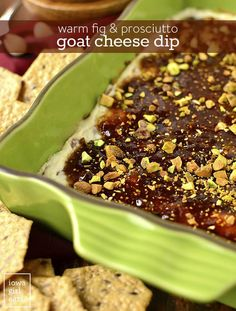 Warm Fig and Prosciutto Goat Cheese Dip is an irresistible gluten-free dip recipe! Layers of goat cheese and prosciutto, fig jam, and pistachios is a hit at parties. Dip Recipes, Appetizer Recipes, Dessert Recipes, Skewer Appetizers, Appetizer Ideas, Easter Recipes, Easter Ideas, Gluten Free Appetizers, Fig Jam