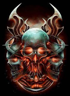 Skulls n Skeletons Skull Tattoo Design, Skull Tattoos, Body Art Tattoos, Dark Fantasy Art, Fantasy Artwork, Dark Art, Grim Reaper Art, Badass Skulls, Skull Pictures