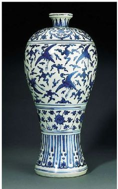 Jiajing Crane Decorated Meiping vase. Jiajing (1522-66) Of wide-shouldered, tapering form, painted with a wide band of cranes amid cloud scrolls, between further bands of lotus scroll and lappets below and cloud collars with lotus flowers above, the short flaring neck with stiff leaves, the base with a four-character auspicious mark reading fugui changchun (wealth and high position, long-lasting spring) 17¼ in. (44 cm.) high