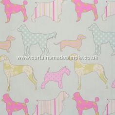 Hollyfield - Sorbet - Various dog impressions in pink on sorbet blue fabric
