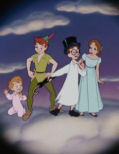 Michael, Peter Pan, John & Wendy