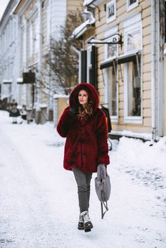 Red faux fur coat in