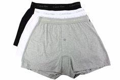 Calvin Klein 3-Pc Classic Fit Grey/White/Black Cotton Knit Boxers Underwear