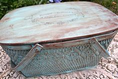 I finally found a vintage picnic basket to redo         Here is what I started with             My total inspiration was this vintage plast...