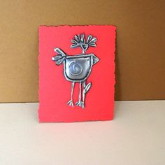 Pewter Embossed Bird Embellishment Scrapbook Cardmaking by Loutul