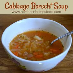 Cabbage Borscht Soup is a very yummy traditional soup. Here is our vegan recipe that we love. It is a great soup for the whole-food plant-based diet. Russian Borscht Soup, Borscht Recipe, Best Healthy Soup Recipe, Best Soup Recipes, Whole Food Recipes, Vegan Recipes, Cooking Recipes, Vegetarian Soup