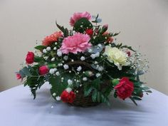 Buy Carnation Basket Arrangement online or contact us to order. Carnations, Fresh Flowers, Christmas Wreaths, Floral Wreath, East Yorkshire, Basket, Florists, Holiday Decor, Flower Crowns
