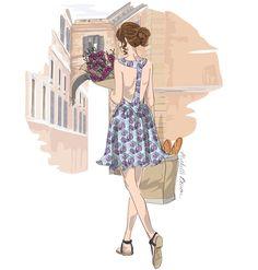 Fashion Illustration Roman Holiday Bohemian by MichelleBaronStudio