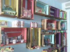 """Pallet boxes, or crates, painted and used for wall storage. Would be great in the kids' rooms or my """"crafty"""" room/office."""