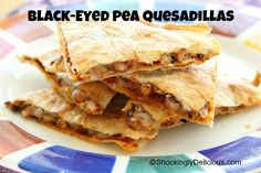 Black-Eyed Pea Quesadillas. Good luck meal! | www.shockinglydelicious.com  #blackeyedpeas #goodluckfood #NewYear #easylunch