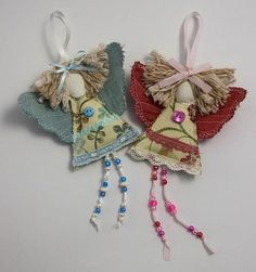 Shabby Chic Guardian Angel .Christmas Angel Decoration. Christening or Baptism. Tree Ornament. Goddaughter gift. Fabric Fairy.: