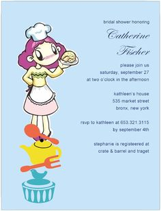 Cute Lady Chef With Kitchen Items Bride To Be Invitation Bridal Shower Party, Bridal Shower Invitations, Kitchen Items, Cute Woman, Crate And Barrel, Invitation Cards, Bride, Lady, Wedding Bride
