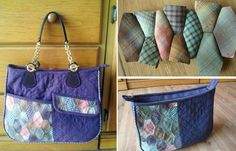 A bag made by sewing hexagon patches together, easy and suitable for beginners. DIY step-by-step tutorial. Сумка со вставками из шестиугольных блоков Patchwork.  http://www.handmadiya.com/2015/08/quilted-bag-honeycomb-pattern-patchwork.html