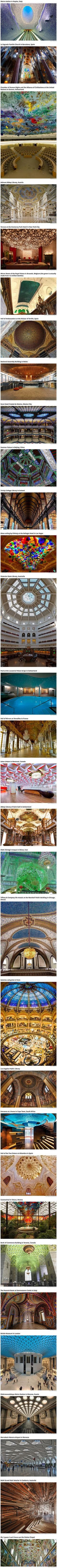 Most people have pretty boring white ceilings. These ceilings from all over the world are the exact opposite of boring.