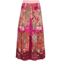 Valentino Pleated printed silk crepe de chine midi skirt ($2,210) ❤ liked on Polyvore featuring skirts, saia, pink, silk skirt, calf length skirts, red midi skirt, red silk skirt and multi colored skirt