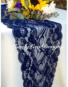 WEDDINGS!! ENGAGEMENTS!!OUTDOOR WEDDINGS!! SHOWERS!! CUSTOM MADE ANY SIZE!  BEAUTIFUL FLORAL NAVY LACE RUNNER! Floral Pattern, Lace Is Navy Blue Other  Sizes ...