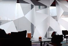 Triangular vinyl on glass windows: