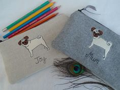 Personalised Purse or Pencil Case Pug Dog Choice of Fabric /& Wording linen wool