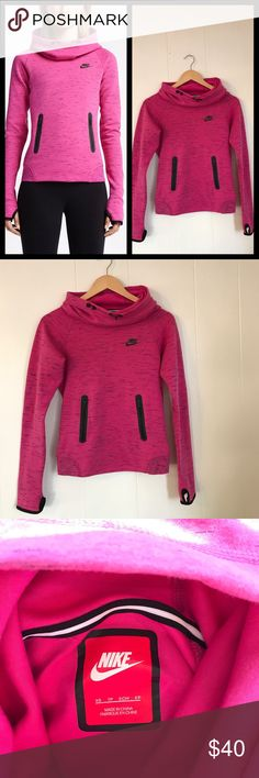 Nike Tech Fleece Hoodie (Size XS) Nike V2 Tech Fleece Hoodie in size XS. Worn a couple of times, but in excellent condition with no flaws. Cute black details - two front zipper pockets, cowl neck, hood, thumb holes. Hot pink and black. Nike Tops Sweatshirts & Hoodies
