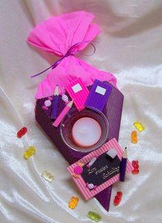 Teelicht Tischdekoration Schultüte mini Schule Einschulung lila pink NEU