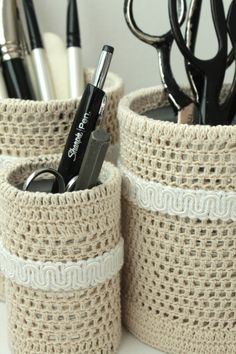 Crochet Pencil Organizer Set ... ok, it's not YARN .... & I pinned it TWICE ~ but it is where I can find it ~ LOL