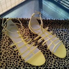 I just discovered this while shopping on Poshmark: Yellow sandals   NWT. Check it out!  Size: 9.5