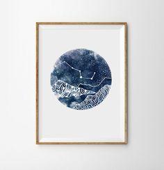 Constellation Print Night Landscape Geometric mountains Art Boho Moon Galaxy…