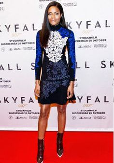 Naomie Harris's Skyfall Stockholm Press Conference Stella McCartney Erica Embroidered Dress and Croc Effect Faux Leather Ankle Boots