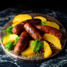 History lessons and food! Delightful. Medieval Chicken Sausage with saffron rose apples