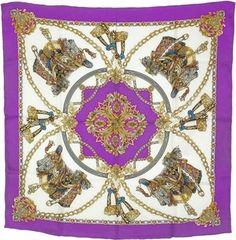 New  Purple Silk Equestrian Scarf 35 x 35 Silk Scarves 3bc9d3c1b7075