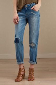 Versona patched girlfriend jeans #Versona