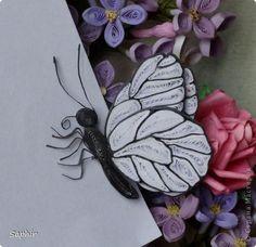 Картина панно рисунок Квиллинг Букет сирени Бумажные полосы фото 13