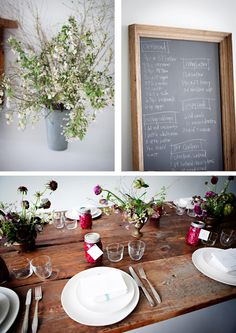 more from the Sunday Supper series. I like the table, the framed blackboard, the flowers
