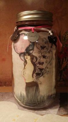 "Gratitude Mason Jar ""Aura at Dusk"" Color Art Print 32 oz Smooth, Beautiful Collaboration of Art, Style & Charm OOAK by Carole Anzolletti by ThePhantomQueensLab on Etsy"
