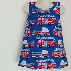 Fire Engines - A-line Pinafore Tunic - Size Ready to post. Blue Shots, Emergency Vehicles, Fire Engine, Fire Trucks, Line, Engineering, Tunic, Cotton, Women
