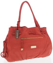 Luxury Accessories:Bags, Isabella Fiore Red-Orange Leather Tote Bag with Gold Hardware. ...