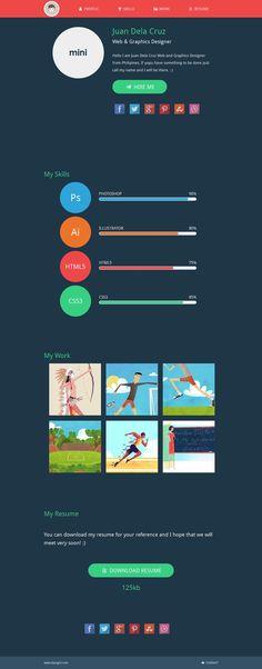 SINGLE PAGE-Flat Design Mini Portfolio