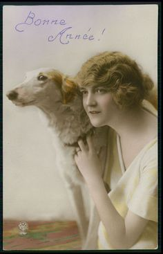 Pretty Deco Fashion Lady Borzoi Dog original vintage old 1920s photo postcard---I own this one