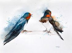 Swallows — Rine Philbin Art Watercolour, oils and acrylic paintings Original Art, Original Paintings, Watercolor Paintings, Watercolour, Swallows, Nature Paintings, Buy Art, Paper Art, Saatchi Art