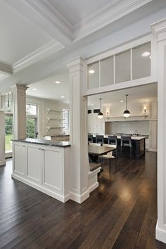 beautiful kitchen w/ dark hardwood floors