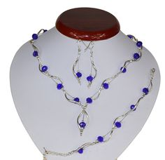 BIŻUTERIA ŚLUBNA KOMPLET ŚLUBNY wieczorowy posrebrzany kryształki chabrowy  KP241 Beaded Necklace, Jewelry, Fashion, Beaded Collar, Jewlery, Moda, Pearl Necklace, Jewels, La Mode