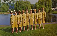 CHOOSE YOUR ESCORT  The escort's day is pleasant because she meets so many interesting people. These girls, attired in Cyanamid's Cresian suits, are especially selected and trained to show visitors around the Laboratories.  Did you know?… American Cyanamid purchased The Formica Company in 1956