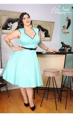 Pinup Couture Heidi Dress in Mint with black piping and belt | Pinup Girl Clothing