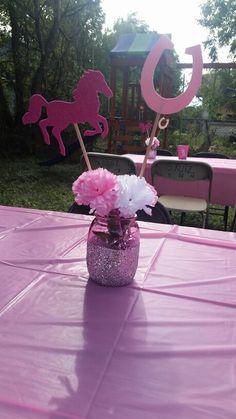 Centerpieces for cowgirl party! Love how these came out! #diy #cowgirl…